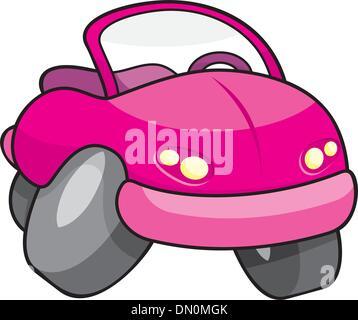 Pink cartoon car - Stock Photo