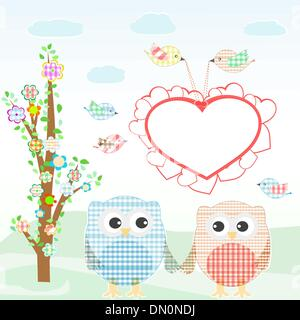 Set of nature elements: owls and birds on branches and tree - Stock Photo