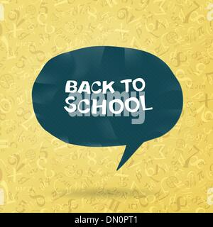 Back to school text in speech bubble on figures and formulas bac - Stock Photo