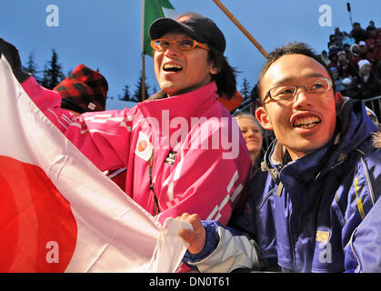 Feb 24, 2010 - Whistler, British Columbia, Canada - Japanes fans cheer during the ladies' two-man bobsled competition - Stock Photo