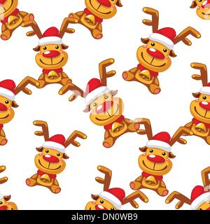 Christmas reindeer with red nose and red hat on white background. - Stock Photo