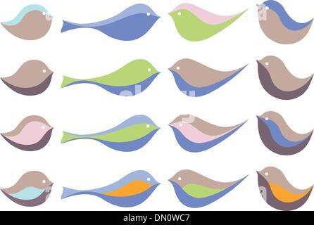 colorful cute birds, vector