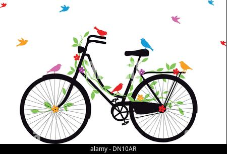old bicycle with birds, vector - Stock Photo