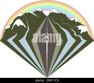 Mountains road and a rainbow - Stock Photo