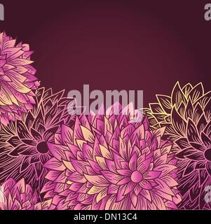 Hand drawn greetings card with flowers on dark background - Stock Photo