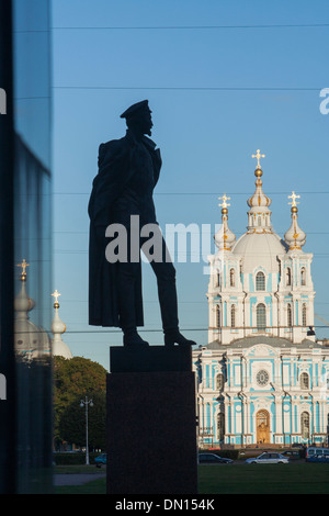 Russia, St Petersburg, statue of Felix Dzerzhinsky and Smolny Cathedral - Stock Photo