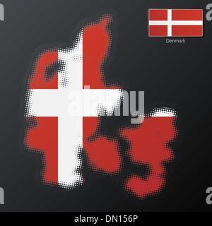 Denmark modern halftone map design element - Stock Photo