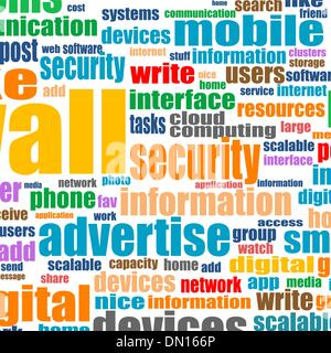 Word cloud tags concept illustration of social media - Stock Photo