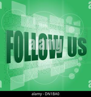 word follow us on digital background on digital screen - Stock Photo
