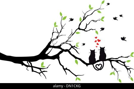 cats in love on tree, vector - Stock Photo
