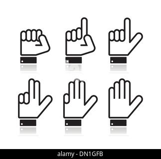 Counting hand signs - vector isolated on white - Stock Photo