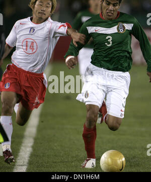 Feb 15, 2006; Los Angeles, CA, USA; SOCCER: (3) Carlos Salcido from the National Team of Mexico  fights for the - Stock Photo