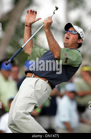 Mar 04, 2006; Miami, FL, USA; Rich Beem reacts to sinking a long putt for a birdie on the 10th hole. Beem is tied - Stock Photo