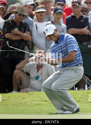 Mar 04, 2006; Miami, FL, USA; Tiger Woods reacts to a missed birdie attempt on the 6th hole. Mandatory Credit: Photo - Stock Photo
