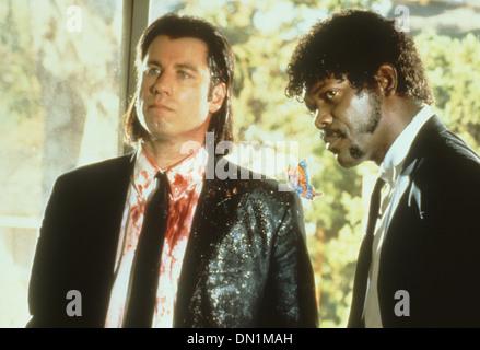 PULP FICTION  1994 Miramax film with John Travolta at left and Samuel L. Jackson