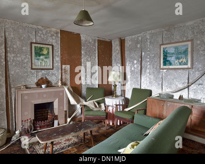 Images Of Old Peeling Wallpaper In Derelict Living Room