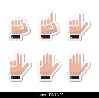 Counting hand signs as labels - vector isolated on white - Stock Photo