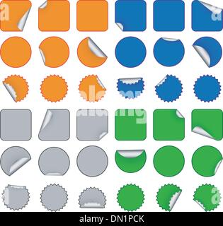 Colorful blank stickers - Stock Photo