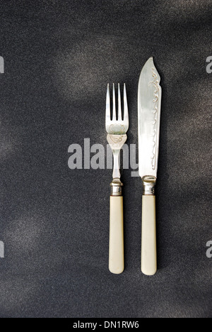 Fish knife and Fork setting bone handle. On a slate background a master chef menu cover - Stock Photo