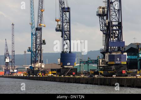 Dockside Cranes, River Tees,Teesside, England - Stock Photo