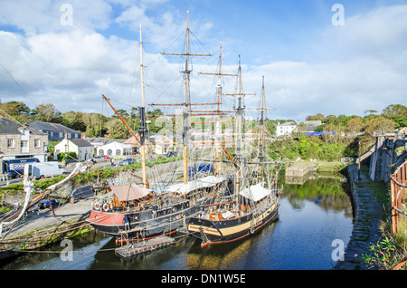 Tall ships in the Historic port of Charlestown, Cornwall, UK - Stock Photo