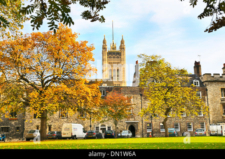 Victoria Tower at the Palace of Westminster seen from Dean's Yard, London, England, UK - Stock Photo