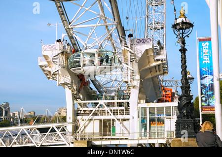 The London Eye on the South Bank, London, England, UK - Stock Photo