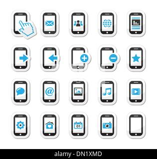 Smartphone / mobile or cell phone icons set - Stock Photo