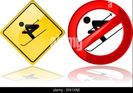Ski signs - Stock Photo
