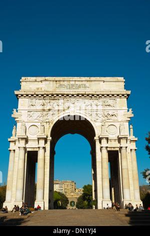 Arco della Vittoria the Victory arch Piazza della Vittoria square central Genoa Liguria region Italy Europe - Stock Photo