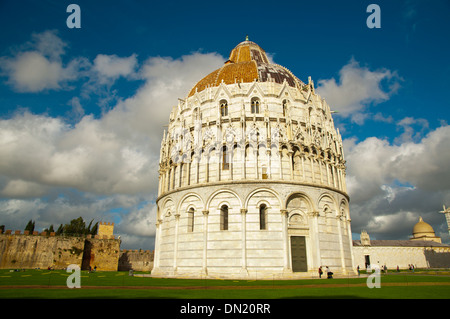 Battistero the Baptistry at Campo dei Miracoli the field of miracles Pisa city Tuscany region Italy Europe - Stock Photo