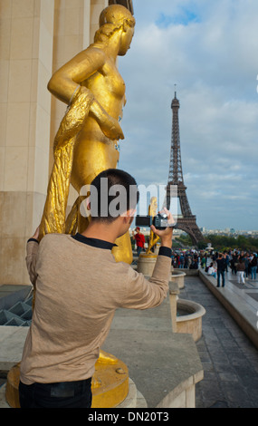 Paris, France, Young Chinese Man Taking Photos Eiffel Tower, from Trocadero - Stock Photo