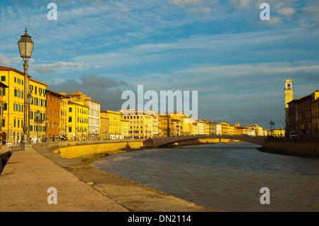 Lungarno Antonio Pacinotti riverside street central Pisa city Tuscany region Italy Europe - Stock Photo