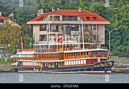 Exclusive charter motor yacht Halas 71 at her Bosphorus moorings, Istanbul. She was a British troop ferry at Gallipoli - Stock Photo