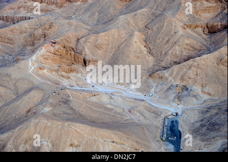Aerial view of  Valley of the Queens from balloon ascent over west bank of Luxor, Upper Egypt - Stock Photo