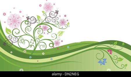 Flowering tree in a spring field background. - Stock Photo