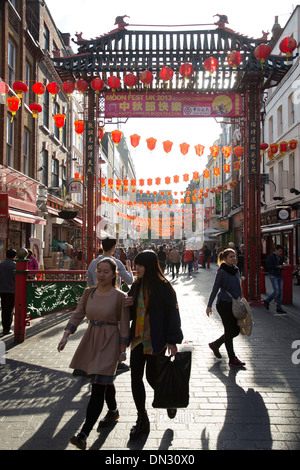 Lanterns along Gerrard Street in Chinatown. Soho, London, UK. Home to London's Chinese community. - Stock Photo