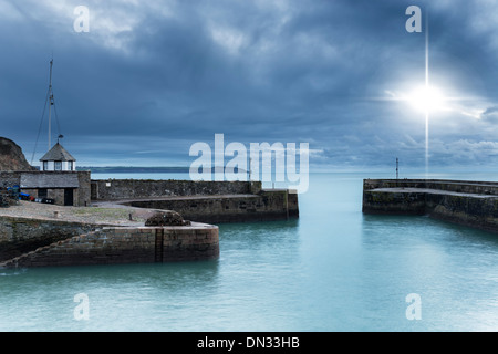 Night time at Charlestown Habour an historic port in Cornwall - Stock Photo