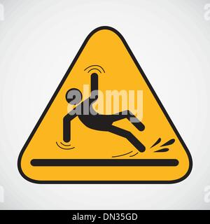 Wet floor caution sign. - Stock Photo