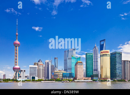 Shanghai skyline with the Oriental Pearl Tower and CBD in Shanghai pudong Skyline PRC, People's Republic of China, - Stock Photo