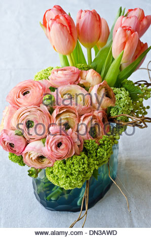 Spring flower bouquet with tulips and ranunculus in blue glass vase on white background. - Stock Photo