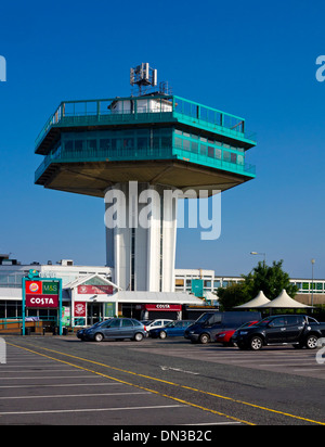 The hexagonal Pennine Tower at Lancaster Forton Moto Services on the M6 Motorway Lancashire England UK built 1965 - Stock Photo