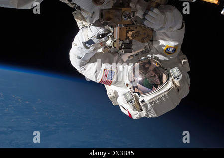 NASA Astronauts Expedition 35 Flight Engineers Chris Cassidy (pictured) spacewalk May 11, 2013 International Space - Stock Photo