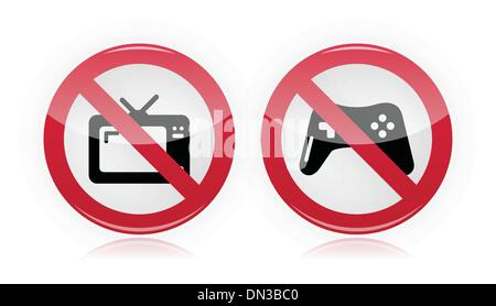 No computer games, no tv warning signs - vector - Stock Photo