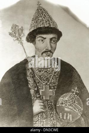 Boris Godunov (1551-1605). Tsar of All Russia. Engraving. - Stock Photo