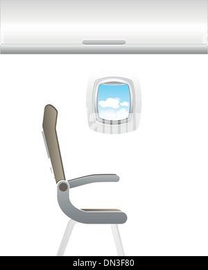 Illustration of plane - jet interior with seats - Stock Photo