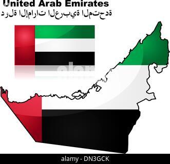 United Arab Emirates map and flag - Stock Photo