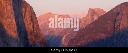 El Capitan and Half Dome at sunset, from Tunnel View, Yosemite Valley, California, USA. Autumn (October) 2013. - Stock Photo