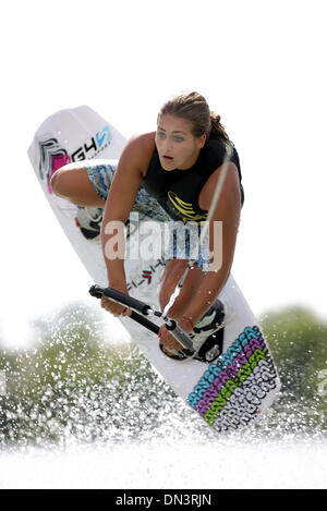 Oct 04, 2006; Pompano Beach, FL, USA; Raimi Merritt, a 13 year-ld who competes in the WWA World Wakeboard Championships, - Stock Photo