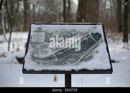 A frosty snow covered map of Crosby Farm Park in St. Paul, Minnesota. - Stock Photo